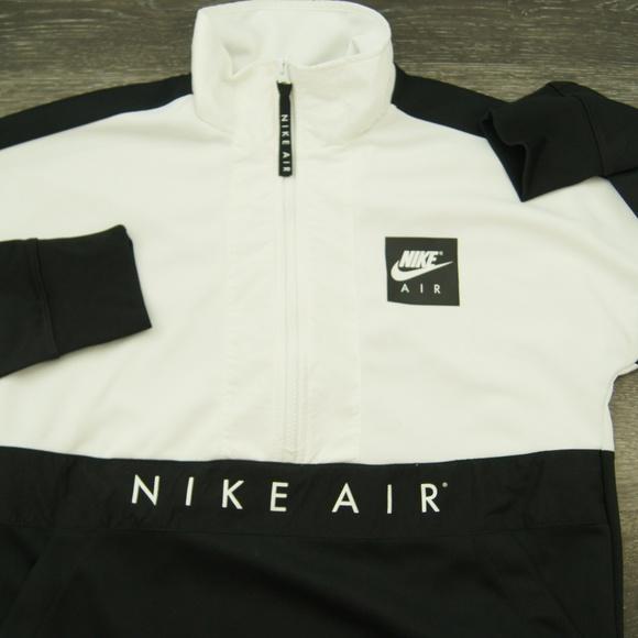 NIKE Air Half Zip Pullover Jacket Mens Black White